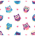 seamless pattern with colorful owls and hearts vector image