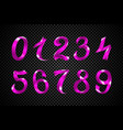 set of festive pink ribbon digits purple vector image