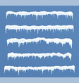 set of long ice caps snowdrifts icicles elements vector image vector image