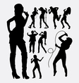 singer male and female people silhouettes vector image vector image
