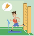 sports and thinks about food vector image vector image
