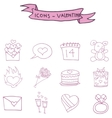 Valentine icons pink element art vector image vector image