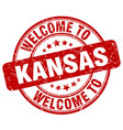 welcome to kansas red round vintage stamp vector image vector image