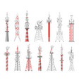 wireless towers telecommunication network tower vector image