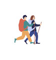 young caucasian and woman with backpacks vector image vector image