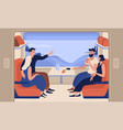 young smiling men and women travelling train vector image vector image