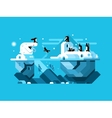 Arctic polar bear with penguins vector image