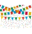 Pennant bunting collection and confetti vector image