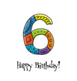 6th anniversary celebration greeting card vector image