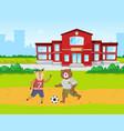 animals students bear and deer play football vector image