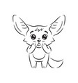 black and white amazed fennec fox with paws on vector image vector image