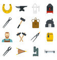 blacksmith icons set in flat style vector image vector image