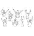 cartoon people at concert or dance party - black vector image vector image