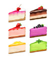 cheesecake pieces realistic set vector image