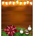 christmas holiday lights ribbon and ornaments on vector image vector image
