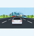city traffic on highway with panoramic views of vector image vector image
