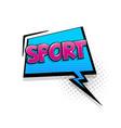 comic text sport speech bubble pop art style vector image