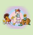 cute girl feeding chickens vector image