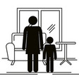 figure mother with son silhouette avatars vector image vector image