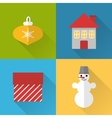 Flat Christmas icons set vector image vector image