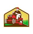 Gardener Landscaper Ride On Lawn Mower Retro vector image vector image
