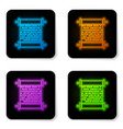 glowing neon paper scroll icon isolated on white vector image vector image
