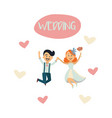 groom and bride dancing isolated vector image
