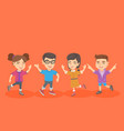 group of caucasian children jumping and dancing vector image