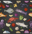 hand drawn seamless pattern with seafood and vector image vector image