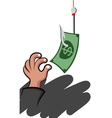 hand picking a money vector image vector image