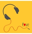 Headphones with red cord Love card Black text vector image vector image