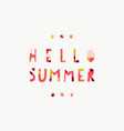 hello summer collage paper cut out style lettering vector image vector image