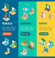home repair worker people 3d banner vecrtical set vector image vector image