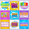 kids zone banners children game playground labels vector image vector image