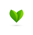Letter V heart eco leaves logo icon design vector image