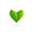 Letter V heart eco leaves logo icon design vector image