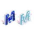 letters m with social networks elements vector image vector image