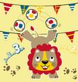 lion circus player cartoon vector image vector image