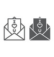 love letter line and glyph icon love and vector image vector image