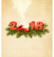 new year background with a 2018 and magic box vector image vector image