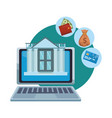 online bank from laptop vector image