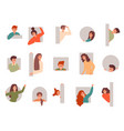 peeping people characters looking out various vector image