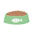 pet cat food bowl with fish design icon vector image