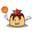 playing basketball pudding character cartoon style vector image vector image