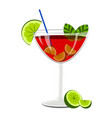 red cocktail with lemon slices vector image
