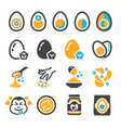salted egg icon set vector image vector image