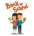 schoolboy and schoolgirl with back to school text vector image vector image