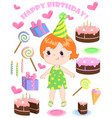 set of birthday cartoon party elements and vector image vector image