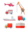 Set of Transports for Worldwide Goods Delivering vector image