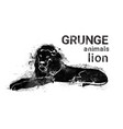 silhouette lion in grunge design style animal icon vector image vector image